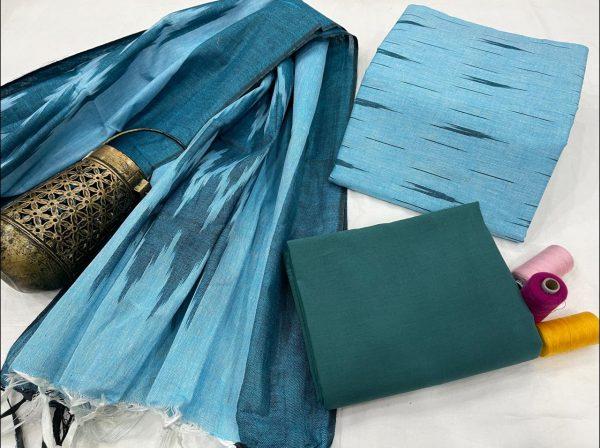 Azure blue ikkat suit set