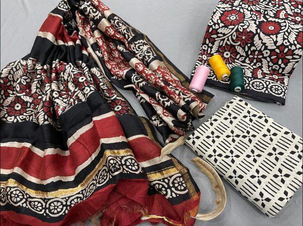 Maroon Cotton salwar suit with chanderi dupatta