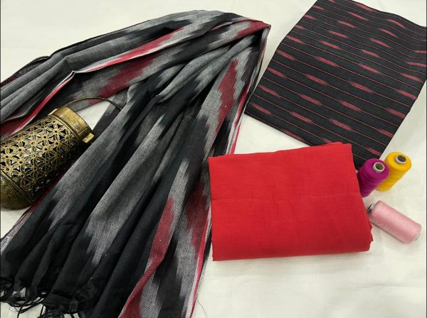 Red and black office wear ikkat suit set