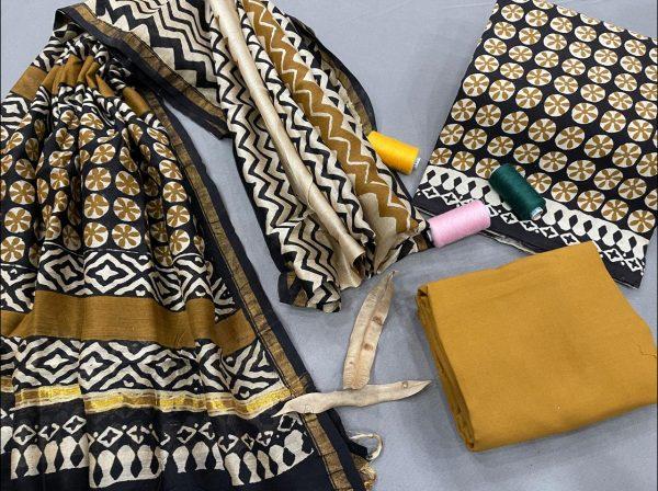 Bronze ethnic wear salwar suit with chanderi dupatta online