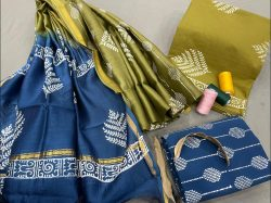 lime and blue Cotton salwar suit with chanderi dupatta