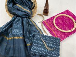 blue and magenta chanderi silk salwar suit online
