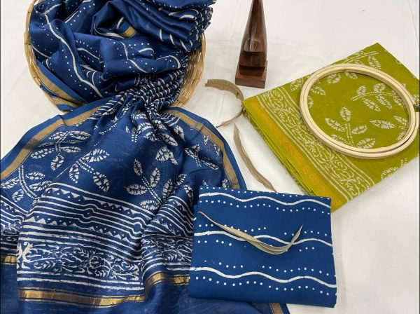 Electric Ultramarine and Green Citrus chanderi suit with dupatta online