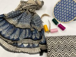 Blue printed cotton suits with chiffon dupatta