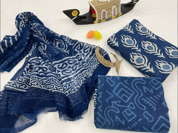 Traditional Blue suit fabric with chiffon dupatta