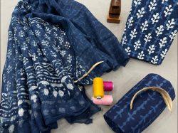 Blue kota doria dupatta smart office wear salwar suits