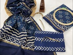 Navy blue chanderi salwar suit fabric