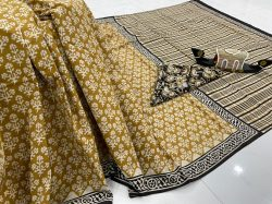 Bronze printed cotton sarees for sale