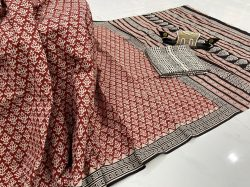 Carmine pritned cotton saree with blouse