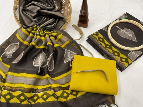 Taupe gray And yellow pure chanderi suit set with dupatta