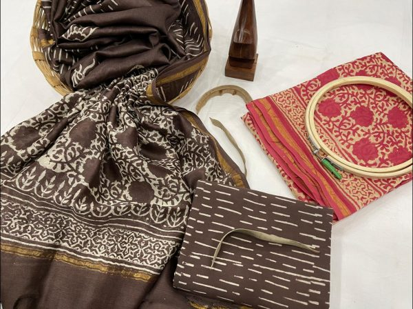 Taupe and ruby chanderi suit with dupatta material online