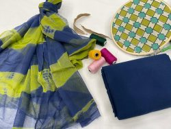 Green and blue cotton salwar suit with chiffon dupatta