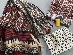 Maroon and white Cotton salwar suit with chanderi dupatta