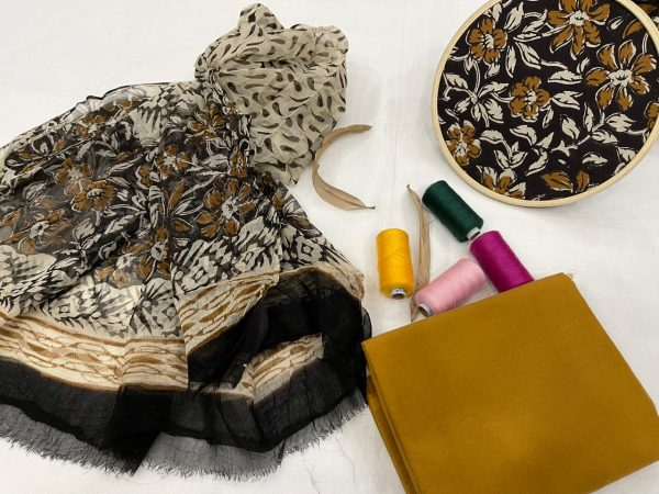 Black floral print unstitched cotton suits with chiffon dupatta