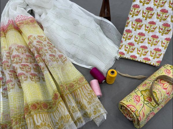 Yellow and white kota doria dupatta with formal salwar suits for office wear
