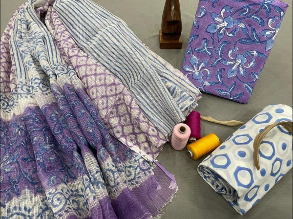 Amethyst and white office wear salwar suit with kota dupatta