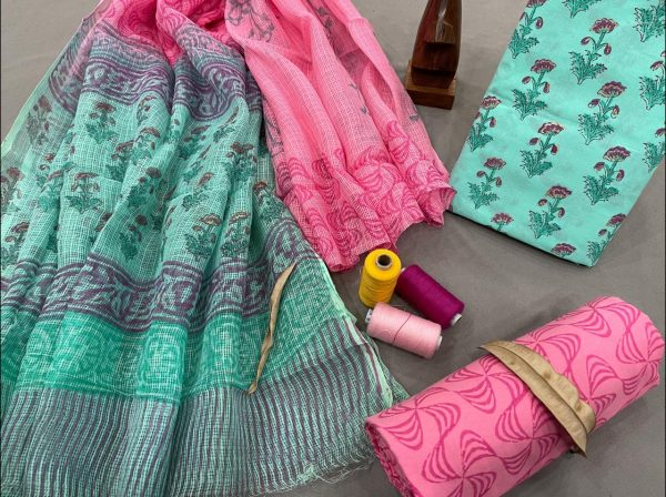 Electric blue and pink cotton suits with kota doria dupatta