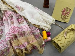 Copper Yellow And white kota doria dupatta smart office wear salwar suits