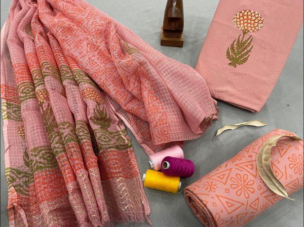 Coral Pink cotton salwar suit with kota doria dupatta suit