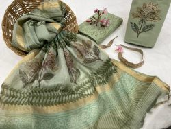 Moss Green cotton suit with heavy dupatta