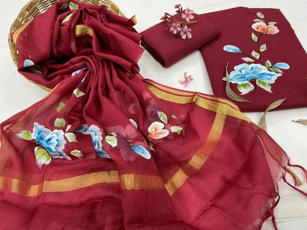 Maroon Hand painted cotton suit with kota silk dupatta