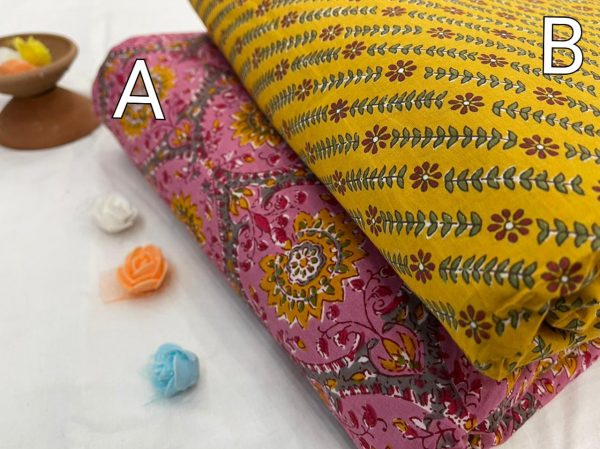 Golden Yellow and magenta pure cotton running material set