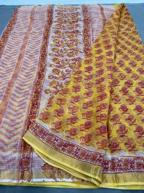 Yellow kota doria saree design