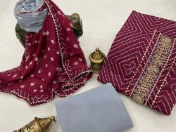Maroon and gray embroidered salwar kameez with chiffon dupatta online