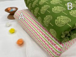 Green and white pure cotton running maaterial set