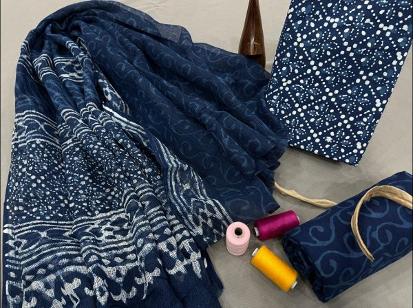 Blue cotton salwar suit with kota doria dupatta suit