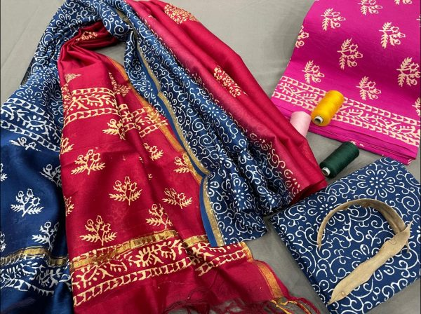 Magenta and blue cotton suit with chanderi dupatta