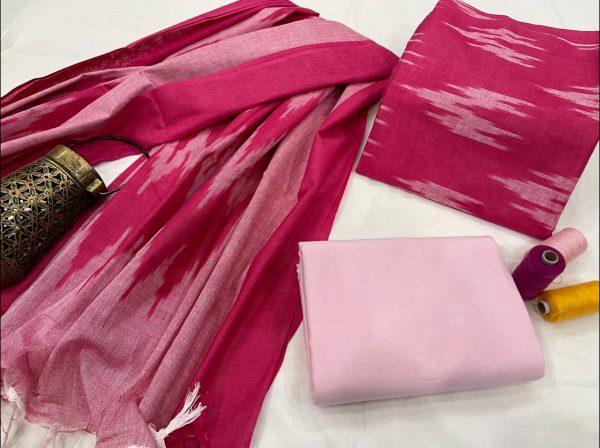 Rose handloom printed ikkat suit set
