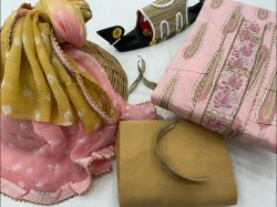 Light Pink And Copper Yellow cotton suit with gota patti work
