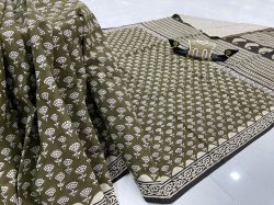 Olive daily wear soft cotton sarees
