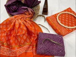 Orange chanderi cotton suit material