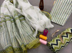 Lime and white salwar suit coton suit kota doria dupatta