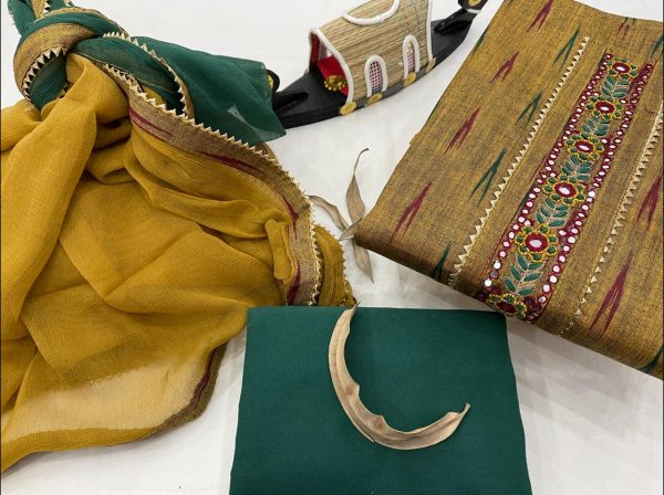 Green and Copper Yellow gota work suits online india
