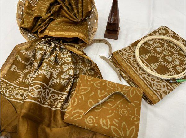 Dark Olivine suit with chanderi silk dupatta