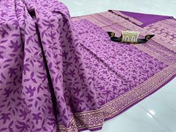 Blue violet daily wear saree with blouse