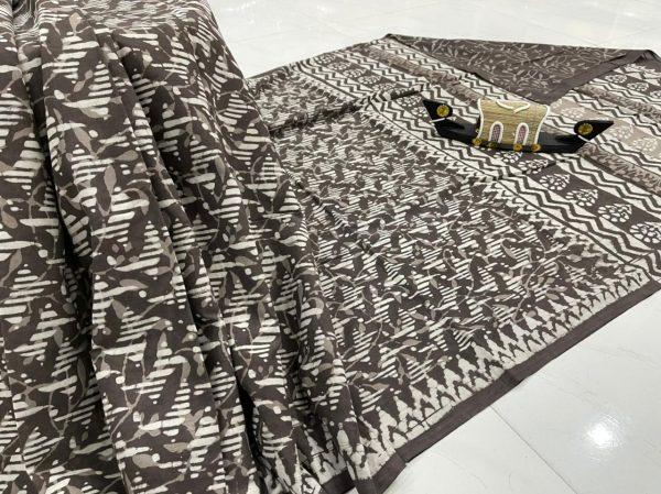 Taupe printed saree simple