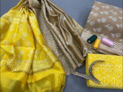 Yellow and Deep Bronze cotton salwar Kammez ethnic wear ladies suit