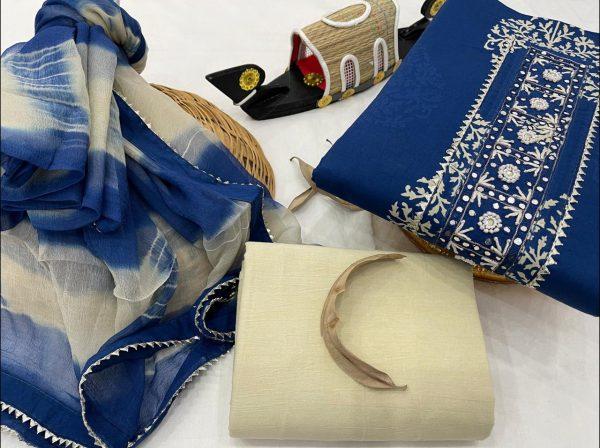 Blue and white gota patti work punjabi suit with chiffon dupatta