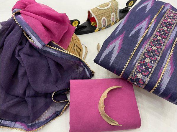 Dotcom blue And magenta cotton unstitched embroidered salwar kameez