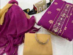 Byzantine cotton suit with gota patti work