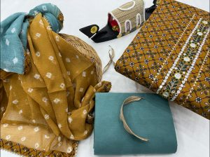 Turquoise And copper yellow gota work suit online