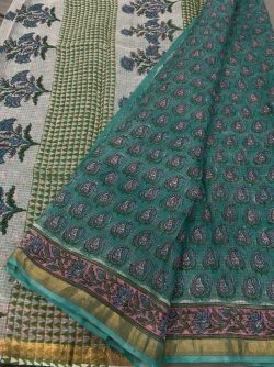 Tropical Green kota doria saree in jaipur