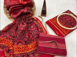 crimson chanderi suit design
