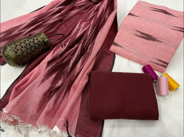 Light PInk And maroon hand block printed ikkat suit set