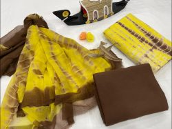 Yellow unstitched cotton suits with chiffon dupatta