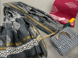 Brick red And slate gray ethnic wear ladies suit with chanderi dupatta